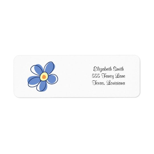 Flowers, Blossoms, Blooms, Petals - Blue Yellow Return Address Label