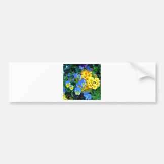 Flowers Blue and Yellow Bumper Sticker