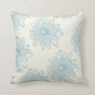 Flowers | Blue on Cream Background Throw Pillow