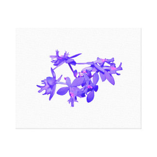 Flowers Blue Tinted Ground Orchid Canvas Print