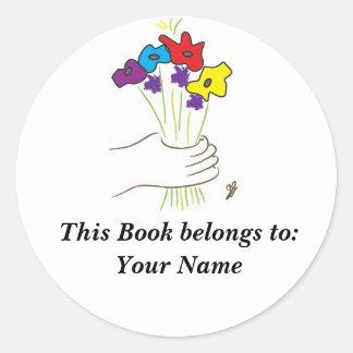Flowers, Book Label Round Sticker