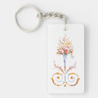 flowers brush rococo painting romantic elegant vin keychain