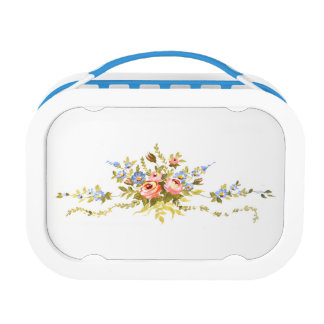 flowers brush rococo painting romantic elegant vin lunch box
