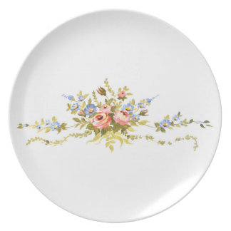 flowers brush rococo painting romantic elegant vin plate
