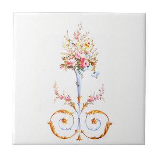 flowers brush rococo painting romantic elegant vin tile