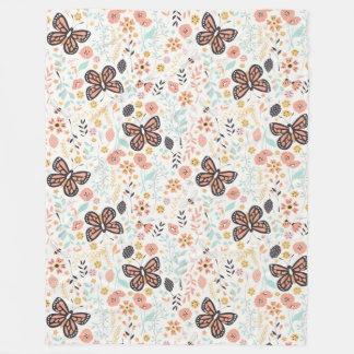 Flowers Butterflies And Bees Fleece Blanket