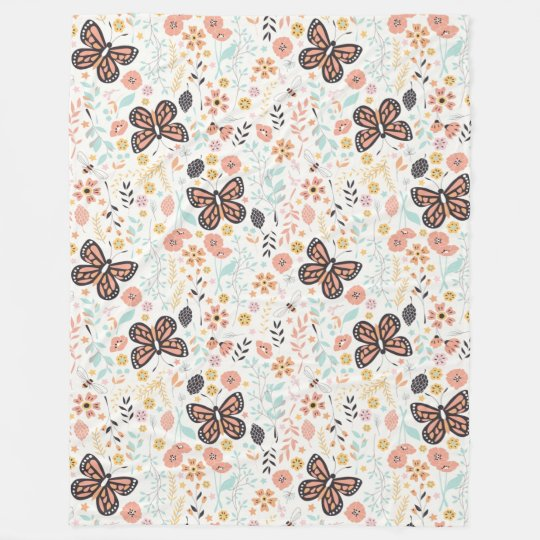 Flowers Butterflies And Bees Fleece Blanket