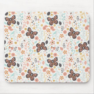 Flowers Butterflies And Bees Mouse Pad