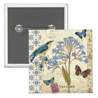 Flowers, Butterflies, and Bird Collage 2 Inch Square Button