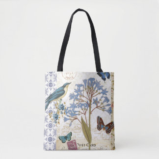 Flowers, Butterflies, and Bird Collage Tote Bag