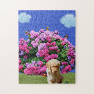 Flowers, Butterflies & Puppy. Jigsaw Puzzle