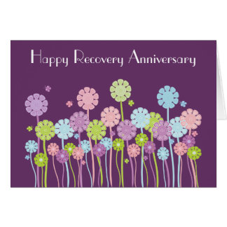 Flowers & Butterflies Purple Retro Recovery Card