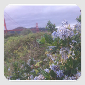 Flowers by the Golden Gate Square Sticker