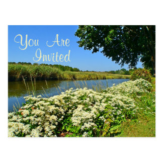 Flowers By The River Invitation Postcard