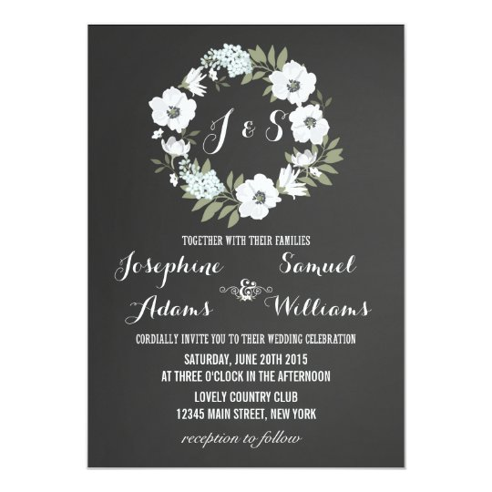 Flowers Chalkboard Wedding Invitation