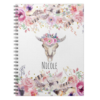 Flowers & Cow Skull Rustic Country Glam Boho Chic Notebooks