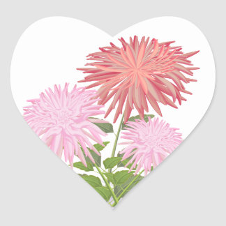 Flowers Dahlias in a vase Heart Sticker