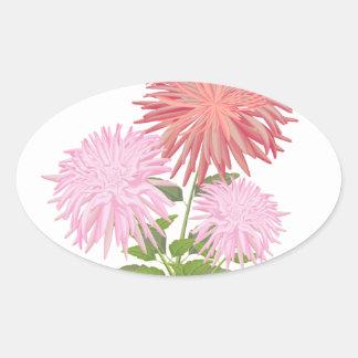 Flowers Dahlias in a vase Oval Sticker