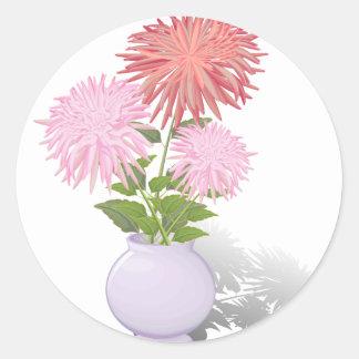 Flowers Dahlias in a vase Round Sticker