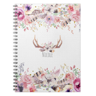 Flowers & Deer Antlers Rustic Country Personalized Notebook