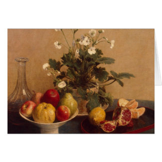 Flowers, dish with fruit and carafe, 1865 card