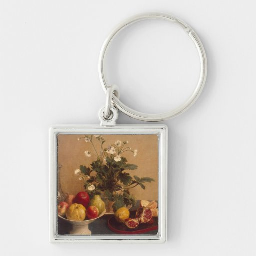 Flowers, dish with fruit and carafe, 1865 key chains