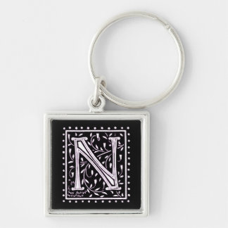 Flowers & Dots Monogram 'N' Silver-Colored Square Keychain