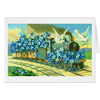 Flowers, doves and train card