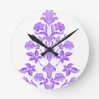 Flowers embroidery round clock