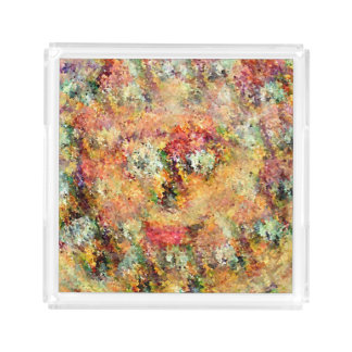 Flowers Face Floral Design Acrylic Tray