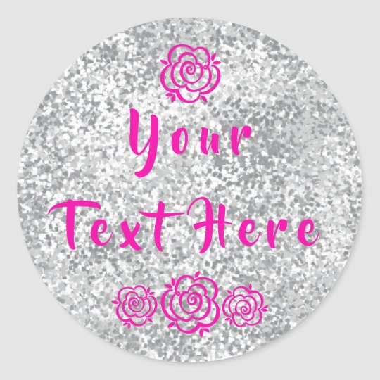 Flowers Faux Silver Glitter Personalized Classic Round Sticker
