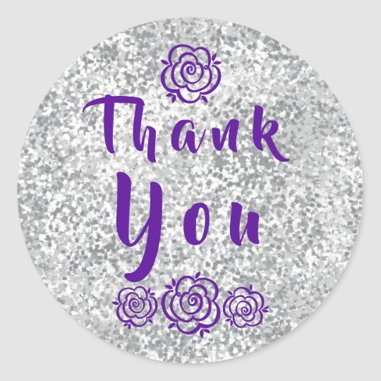 Flowers Faux Silver Glitter Thank You Classic Round Sticker