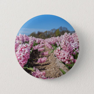 Flowers field with pink hyacinths in Holland 2 Inch Round Button