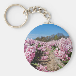 Flowers field with pink hyacinths in Holland Basic Round Button Keychain