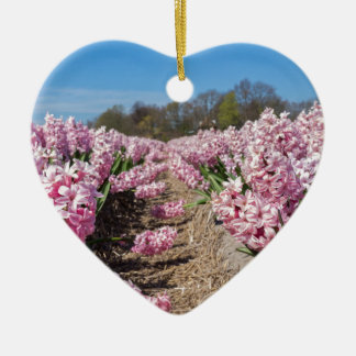 Flowers field with pink hyacinths in Holland Ceramic Heart Ornament