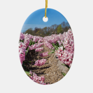Flowers field with pink hyacinths in Holland Ceramic Oval Ornament
