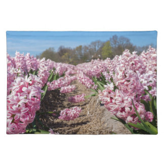Flowers field with pink hyacinths in Holland Placemat