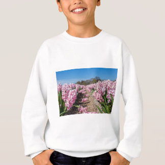 Flowers field with pink hyacinths in Holland Sweatshirt