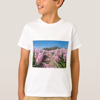 Flowers field with pink hyacinths in Holland T-Shirt