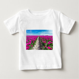 Flowers field with purple tulips and path baby T-Shirt