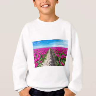 Flowers field with purple tulips and path sweatshirt