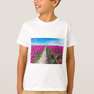 Flowers field with purple tulips and path T-Shirt