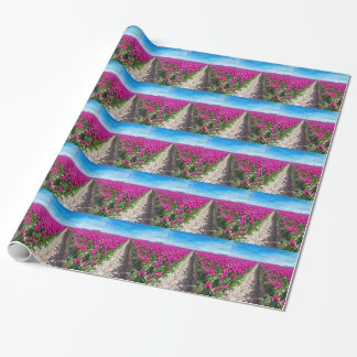 Flowers field with purple tulips and path wrapping paper