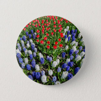 Flowers field with red blue tulips and hyacinths 2 inch round button