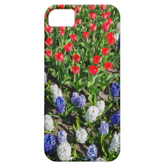 Flowers field with red blue tulips and hyacinths iPhone 5 cover