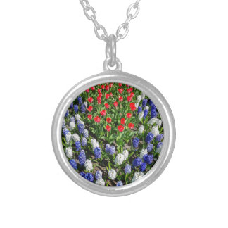 Flowers field with red blue tulips and hyacinths silver plated necklace