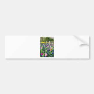 Flowers field with tulips hyacinths and bridge bumper sticker