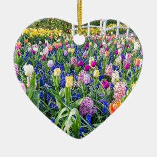 Flowers field with tulips hyacinths and bridge ceramic heart ornament