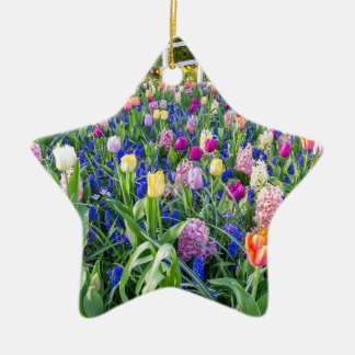 Flowers field with tulips hyacinths and bridge ceramic ornament