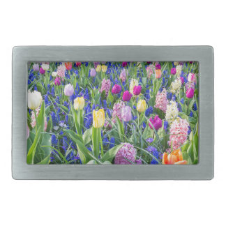 Flowers field with tulips hyacinths and bridge rectangular belt buckle